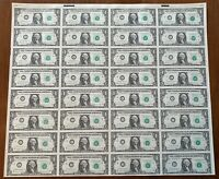Uncut Sheet of 32 1988 $1 Notes! UNCIRCULATED!! I-A Block! Minneapolis, MN!
