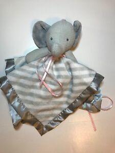 "NEW Elephant Gray Baby Security Blanket White Stripe Plush 14"" Comfort Great LN"