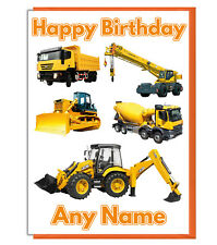 Personalised Construction Vehicles JCB Birthday Card - Dad Brother Son Boy Uncle