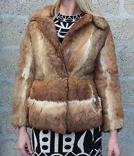Vintage 1960s Multicolour Super Thick Soft French Rabbit Fur Jacket S