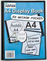 Display Book Folder Folio A4 24 Pockets Presentation Book - Black by Arpan