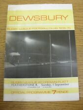 01/09/1974 programma Rugby League: Dewsbury V Featherstone Rovers [Yorkshire Cup