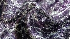 SEQUIN FABRIC – ANIMAL PRINT DESIGN - SEWN ON 3mm SEQUINS - PURPLE & SILVER
