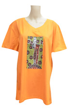 NEW 100% Cotton Womens T-Shirt Orange Colour from Aboriginal Design- Medium Size