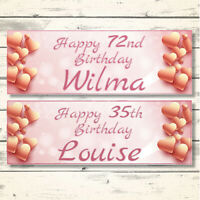 2 PERSONALISED ROSE GOLD BIRTHDAY BANNERS - DESIGN 2 ROSE GOLD HEARTS