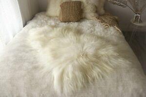Genuine Natural Icelandic Sheepskin Rug, Pelt, long fur, Super soft