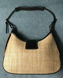 RARE Coach purse / shoulder bag / baguette / Black Leather Trim / Wrist Strap