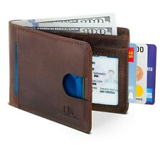 SERMAN BRANDS- Bifold Slim Genuine Leather Thin Minimalist Front Pocket Wallets