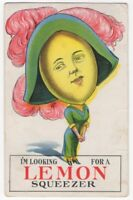 032520 VINTAGE ANTHROPOMORPHIC POSTCARD LEMON DRESSED AS LADY W/ BIG HAT c1910