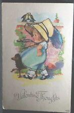 Vintage Valentine'S Thoughts Post Card No 400 Unused Girl Parasol Dog Glitter
