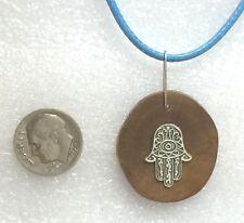 Hamsa Kabbalah Necklace Pendant Evil Eye Charm Israeli slice olive wood Judaica