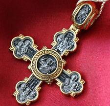 NEW RUSSIAN ORTHODOX CROSS PENDANT SILVER 925+999 GOLD ST NICHOLAS JESUS CHRIST