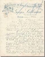 Lettre - Georges LALLEMAN Entrepôt de Vins & Eaux de vie à Vire 1898