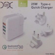 USB Quick Charger 4 Port Multi Plug 3.0 25W Qualcomm NEW (H1)
