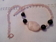 18'' STERLING SILVER, Amethyst and Pink Quartz necklace