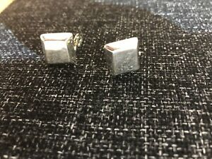 Sterling Silver Lightly Hammered Square Clip On Earrings