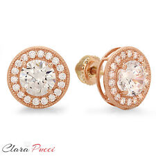 3.60 Ct Round Brilliant Cut Solitaire Halo Stud Earrings 14k Rose Gold