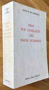 """A. DE GOBINEAU """"ESSAI SUR L'INÉGALITÉ DES RACES..."""" BONNE ÉDITION BELFOND BE1967"""