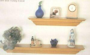 "Solid wood Honey Pine Floating Shelf 24"" inch 5 1/4"" Crown Molding Ledge cms24h"