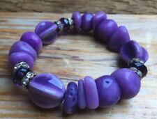 Purple Ceramic Eclectic Bead Bracelet/Pebble Beads/Rhinestone/Occasion/Lilac