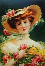 Oldfashioned Lady in Hat with Roses vintage art by Emile Vernon