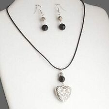 Double Sided Silver Heart Necklace & Earring Set Vintage Style Black Glass Beads