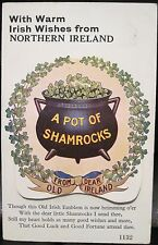Irish Postcard WARM WISHES FROM NORTHERN IRELAND Pot Shamrocks Novelty 12 Views