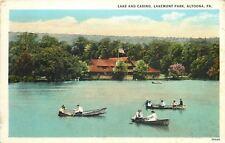 Altoona PA~Lake and Casino~Lakemont Park~Couple Rowboat~1920 Postcard