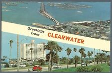 Clearwater Fl  downtown aerial view + causeway with old cars postcard c1960s