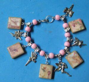 Fairies Charm Bracelet-Pink & Silver-Fairy