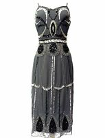 Grey Vintage 1920s Flapper Gatsby Downton Abbey Fringe Beaded Dress Size 8-20