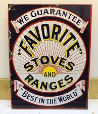 "FAVORITE STOVES & RANGES Porcelain DOUBLE SIDED Sign advertising Flange 18""x24"""
