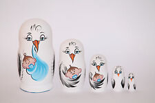 Russische Matroschka Holzpuppe Babushka 5-teilig 14,5 cm zur Auswahl Storch