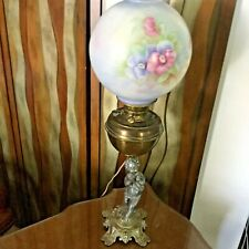 Antique Oil to Electric Converted Table Lamp - Brass w/MultiColor Floral Globe!