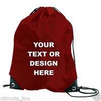 Personalised Burgundy Drawstring Bag Sack Gym PE Swim  School Print Waterproof
