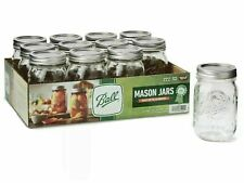 Ball 16oz Regular Mouth Pint Canning Mason Jars, Lids & Bands Glass, 12 Pack