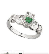 Ring, Hallmarked In Dublin Castle Green cubic Zirconia Silver Claddagh