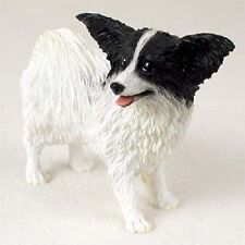 B&W Papillon Dog Hand Painted Figurine Resin Statue Collectible Black & White