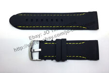 Comp. Seiko Velatura SPC049P1 - 26mm Black Rubber Yellow Stitch Watch Band-strap