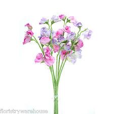 Soie artificielle Pois de senteur rose & lilas branches Couleur Bonbon fleurs