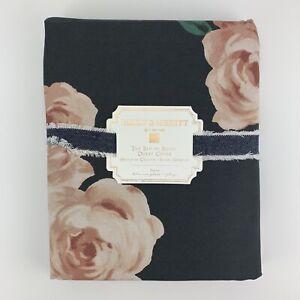 Pottery Barn Emily & Meritt Bed Of Roses Duvet Cover Black & Blush Twin
