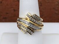 10K GOLD ROUND BAGUETTE CHANNEL SET DIAMOND RING .50CT SIZE 6.75