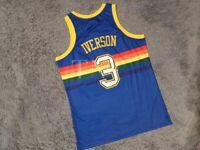 Authentic Allen Iverson Denver Nuggets Throwback Rainbow Skyline Jersey Blue XXL