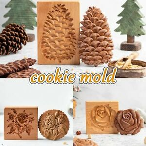 Wooden Cookie Cutter Mold Press 3D Cake Embossing Baking Mold Tools Gingerbread