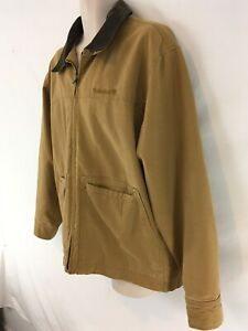 Timberland Weathergear Mens M Brown Canvas Lined Zip Front Field Jacket