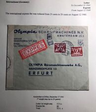 1941 Amsterdam Netherlands Olympia typewriters Censored Cover To Erfurt Germany
