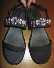 Cloudwalkers black jeweled slingback sandals, adjustable buckle, Women's 13 wide