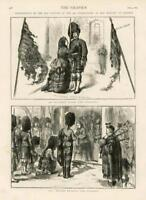 1873 Antique Print - ISLE WIGHT PRESENTING OLD COLOURS HIGHLANDERS (201)