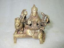 Antique Old Brass Hindu Goddess Durga Ambe Sherawali Mata Lion Figurine Statute