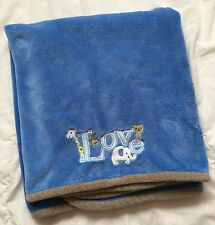 Carters Blue Love Blanket Elephant Giraffe Monkey Bear Brown Trim White Green